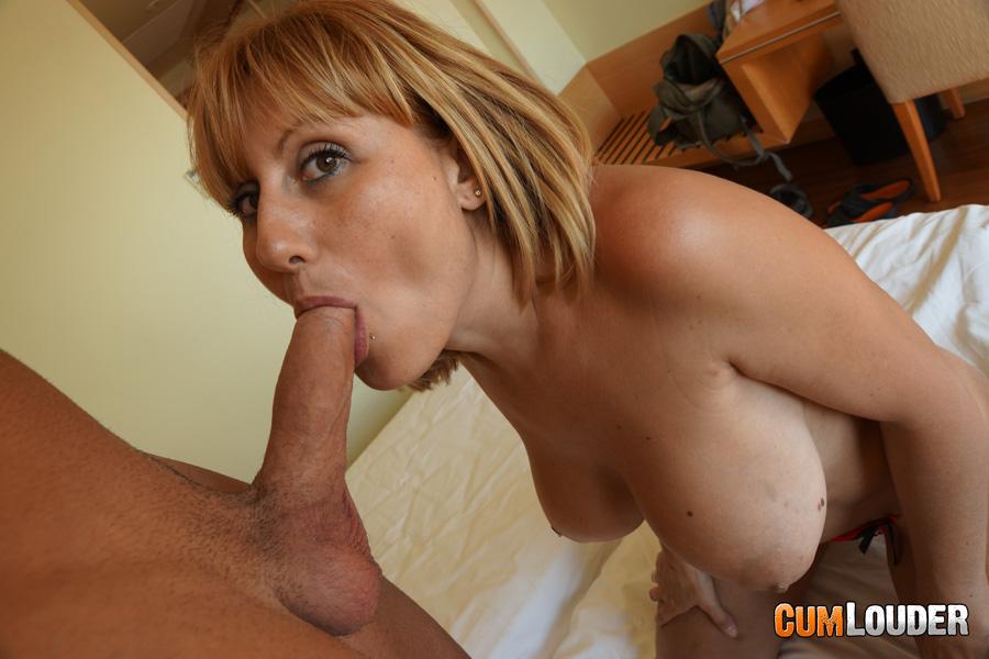 Hot busty woman licks man's dick